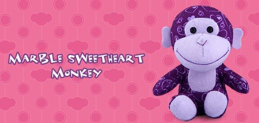 Marble Sweetheart Monkey #8 Build A Bear Workshop 2012 Happy Meal Toy