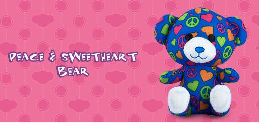 Peace and Sweetheart Bear #1 Build A Bear Workshop 2012 Happy Meal Toy