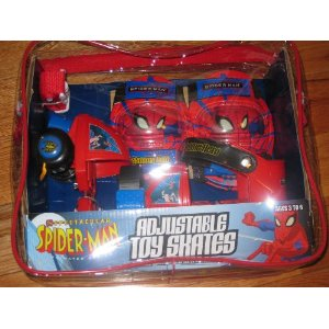 Spiderman Adjustable Toy Rollerskates and Pad Set
